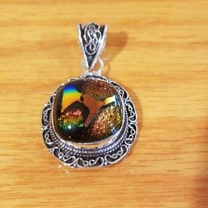 NWOT 925 Silver Dichroic Glass Pendant